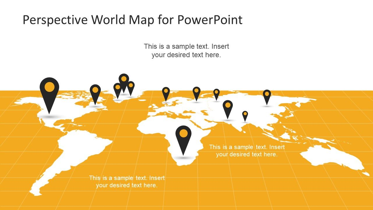 Perspective World Map For Powerpoint Slidemodel World Map Design World Map Silhouette World Map With Pins