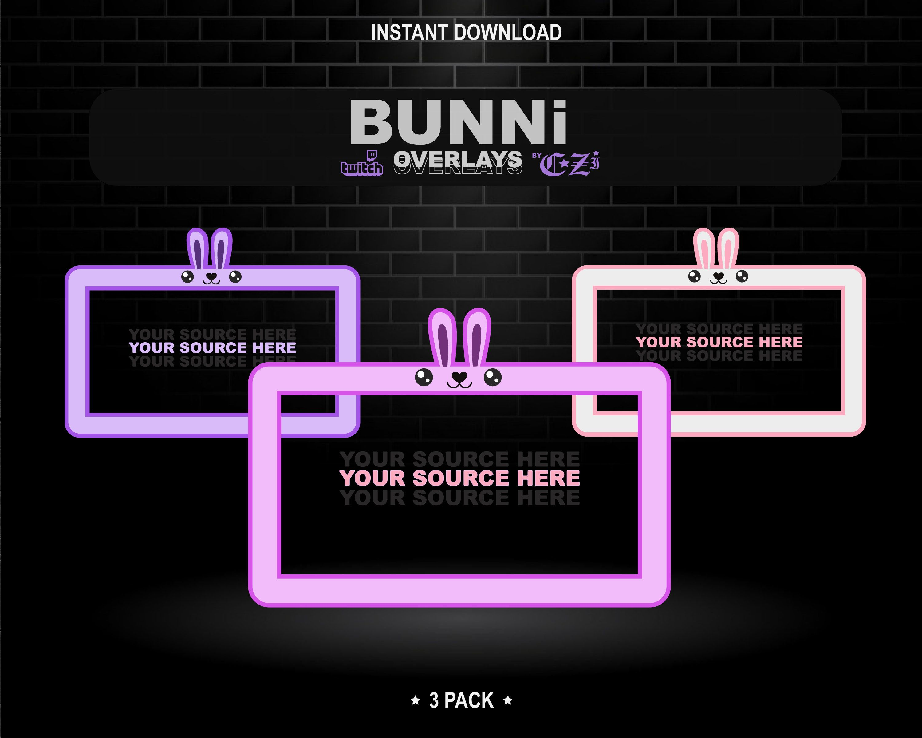 Bunni Twitch Overlays Etsy In 2021 Overlays Twitch Twitch Streaming Setup