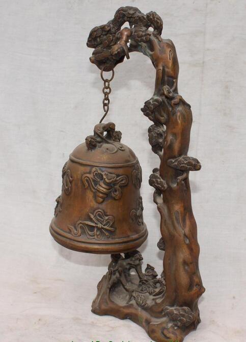 "11 "" Chinese Bronze budismo 8 auspicioso símbolo Zhong sino árvore macaco Sculptur"