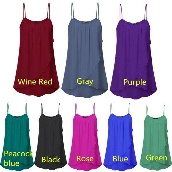 Summer Women Chiffon Solid Color Oneck Sleeveless Top Off Shoulder Loose Pleated