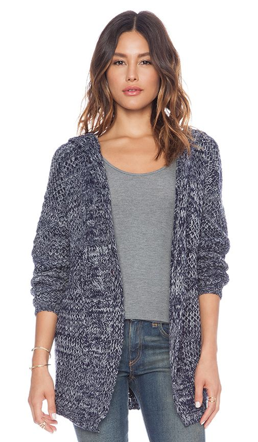 Cosy chunky knit hooded cardigan