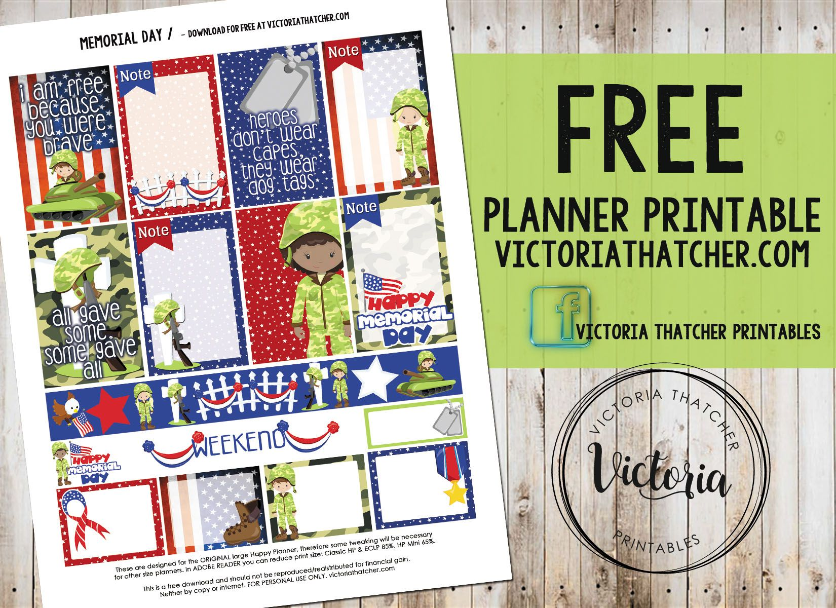 Memorial Day Planner Printable Free Victoria Thatcher