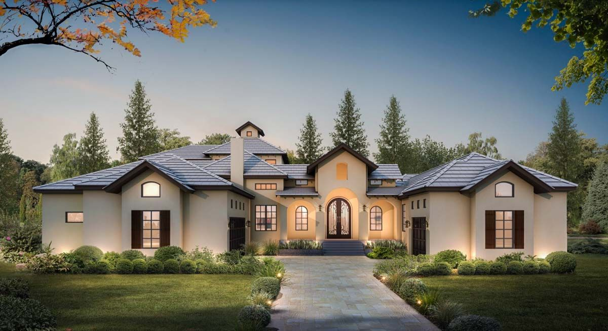 Plan 430008ly Courtyard Entry 4 Bed House Plan With Upstairs Game Room Courtyard Entry Mediterranean Homes Courtyard House Plans