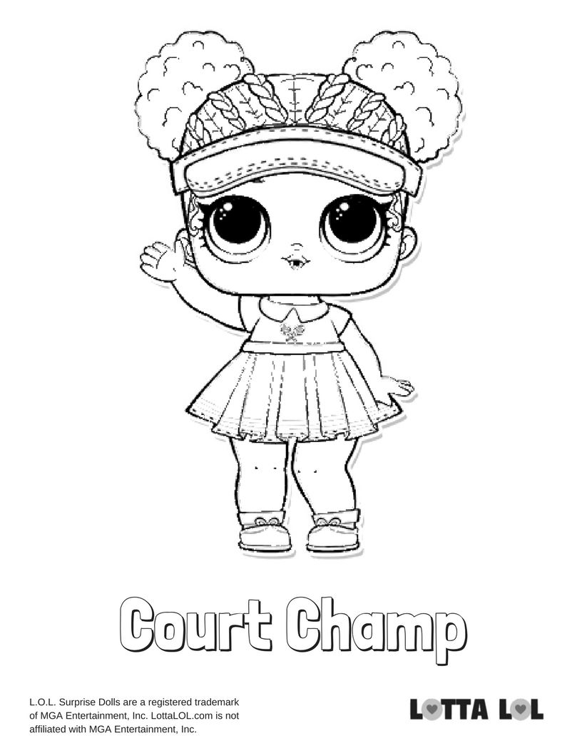 Court Champ Coloring Page Lotta Lol Lol Surprise Series 2