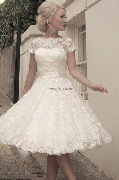 Custom Made A Line Boat Neck Short Sleeve Vintage 50 S Lace Short Wedding Dress Short Bridal Gown Short Lace Wedding Dress Tea Length Wedding Dress
