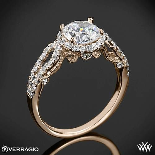 20k Rose Gold Verragio INS 7042R 4 Prong Round Halo Diamond Engagement Ring