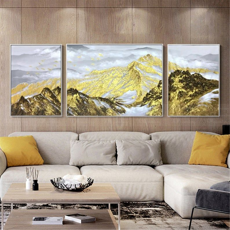 3 Pieces Gold Art Abstract Canvas Painting Wall Art Pictures Etsy In 2021 Wall Art Pictures Mountain Wall Art Abstract Canvas Painting