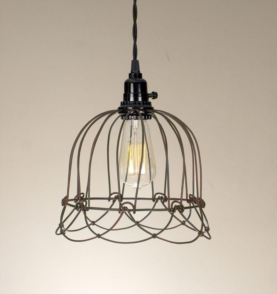 Small wire bell pendant lamp master closet and bath pinterest