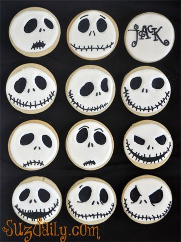 nightmare before christmas halloween cookies via thecookiecuttercompany - Halloween Cookies Decorating Ideas