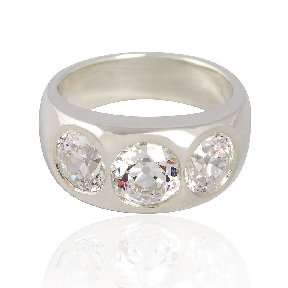 3 stone ring set with 5 carats total weight Old European Cut faux diamonds set in sterling silver.