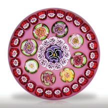 Parabelle Glass 1998 Artist Proof spaced concentric millefiori over pink paperweight.