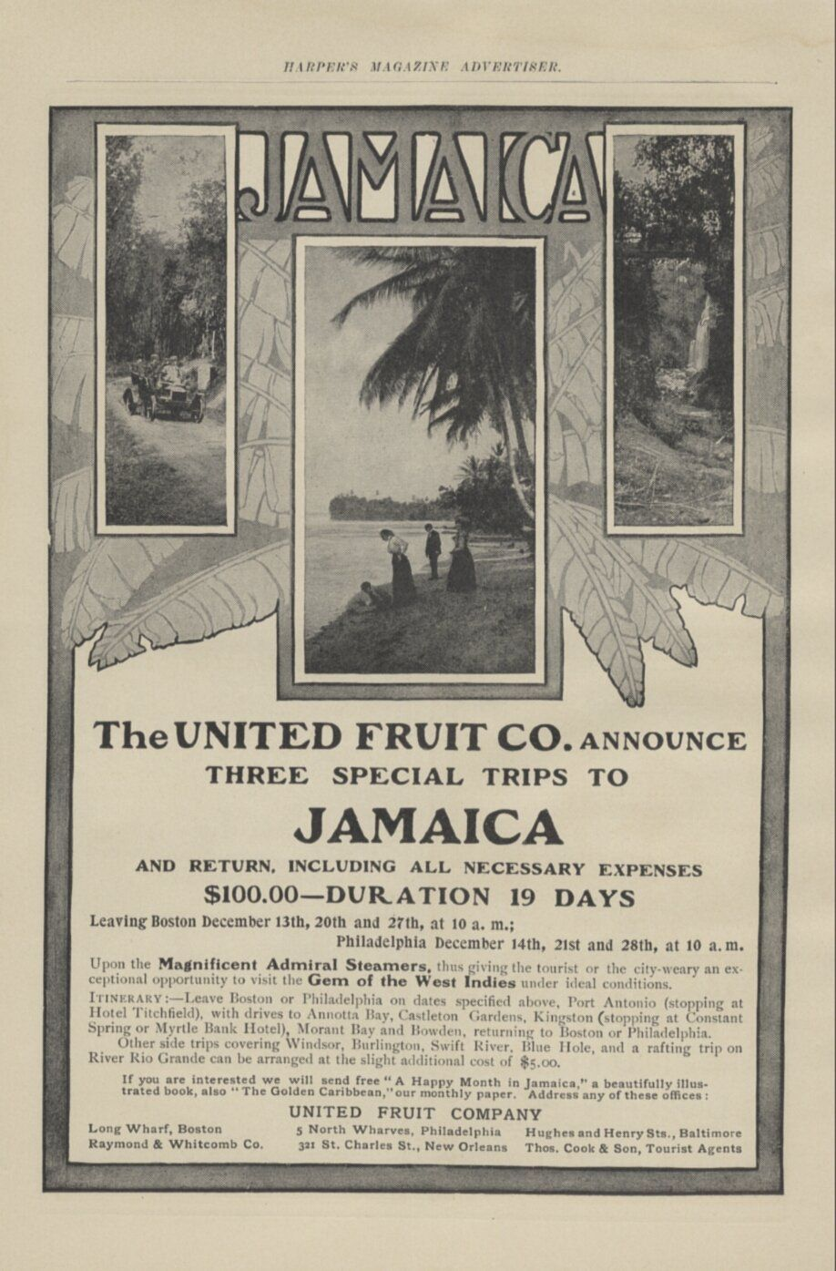 1905 Vintage Ad Travel to Jamaica United Fruit Co Steamships Cruise 111905HM