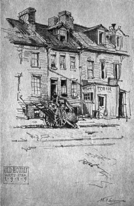 Pencil sketch by otto f langmann old houses watts street new york