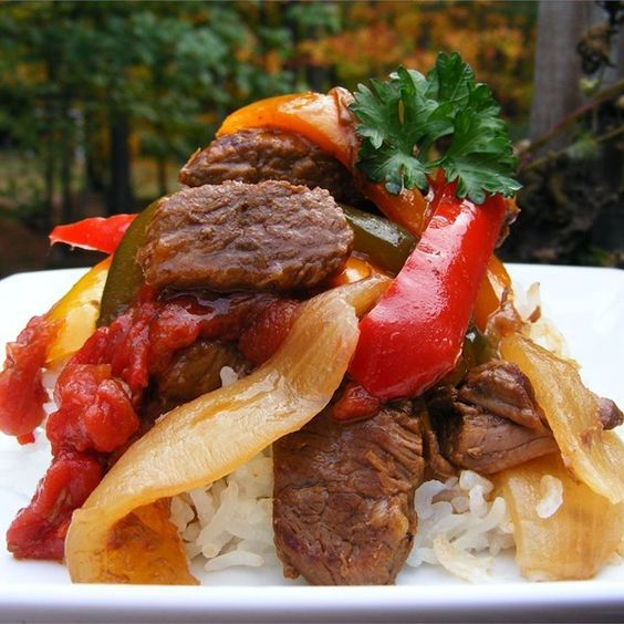 "Slow-Cooker Pepper Steak I ""This is a fast,easy and delicious recipe for the busy cook of the house! It takes only minutes to throw together but tastes like you spent hours!"":"