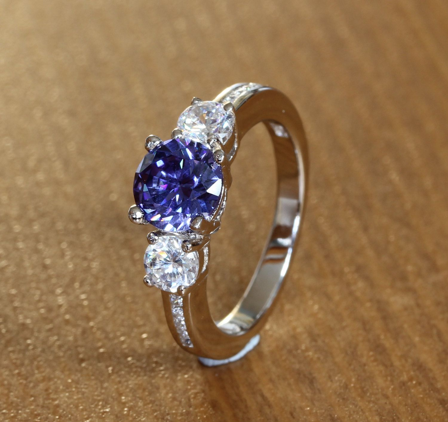 prong engagement wedding blue white tanzanite round gold claw ring rings