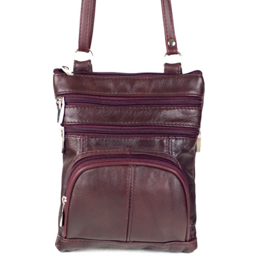 66b40e2def Roma Leathers Genuine Leather Multi-Pocket Crossbody Purse Bag (Wine ...