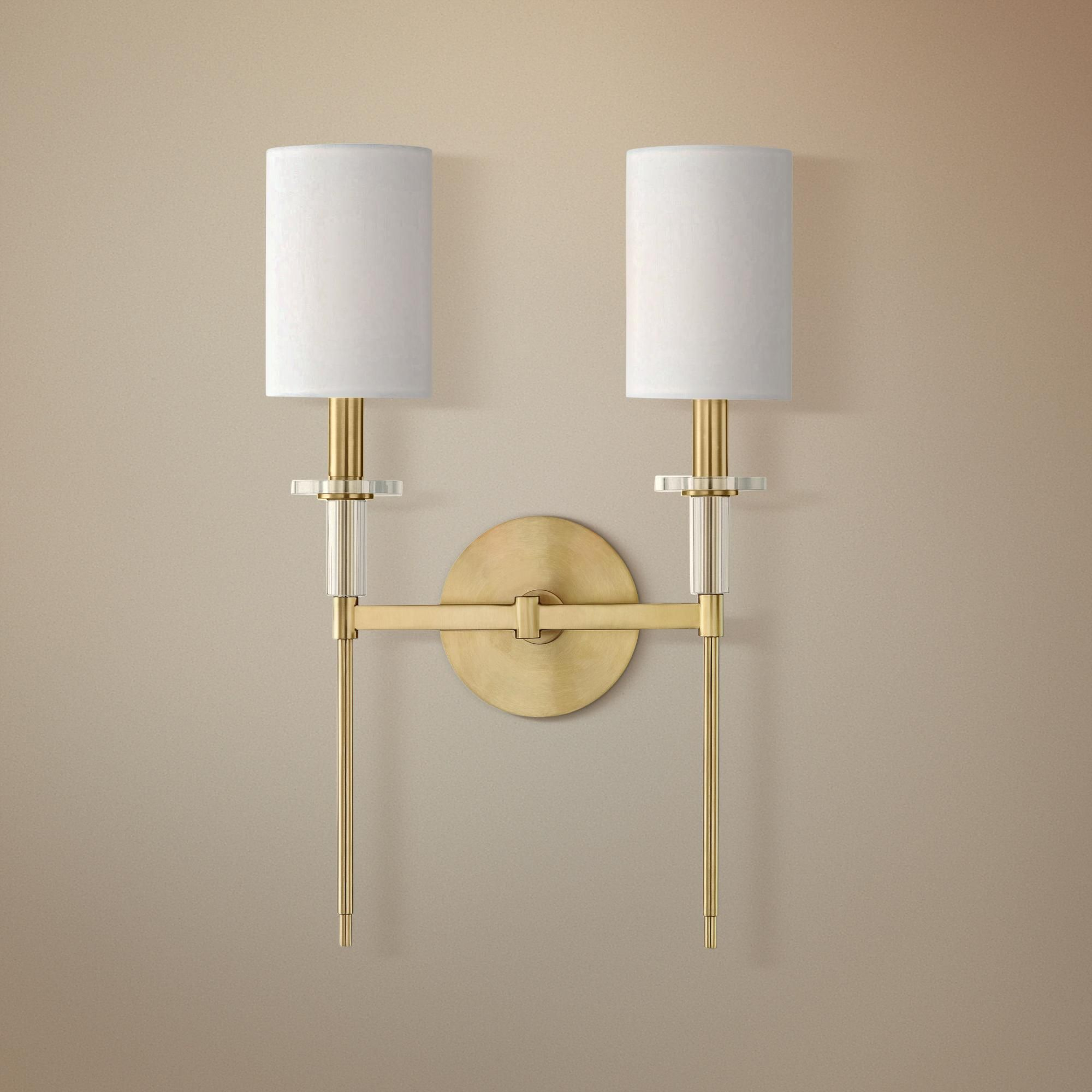 Hudson Valley Amherst 18 And Three Quarter Inch High Brass 2 Light Wall Sconce Dengan Gambar