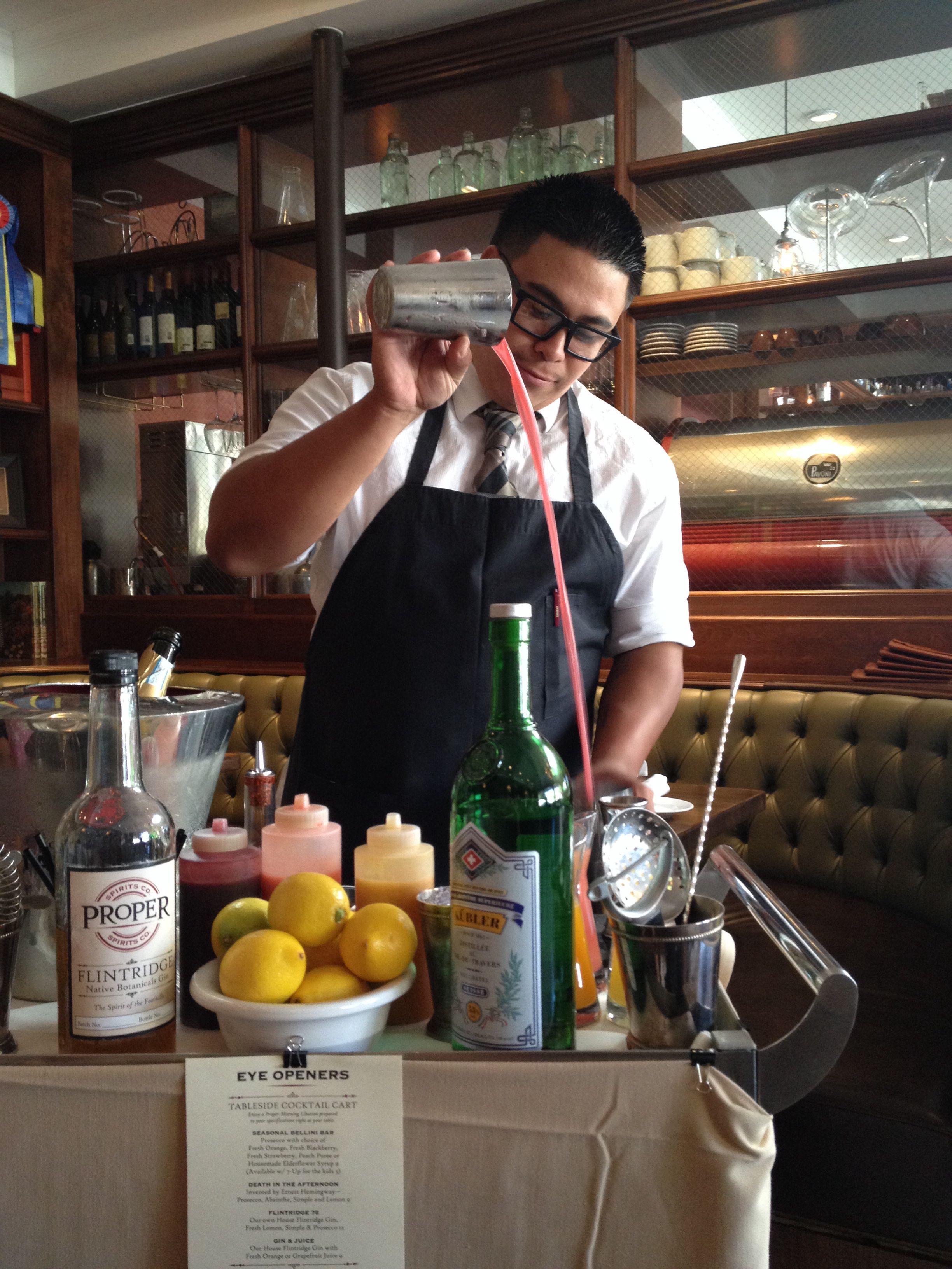 Proper Brunch Cocktail cart and bartender Angel