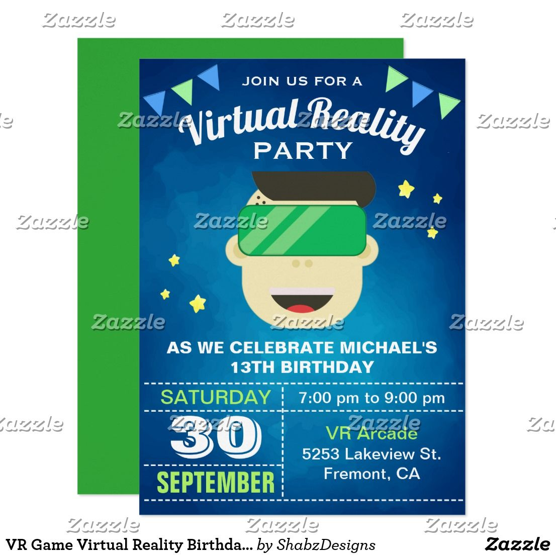 vr game virtual reality birthday party invitation in 2018 teens 13