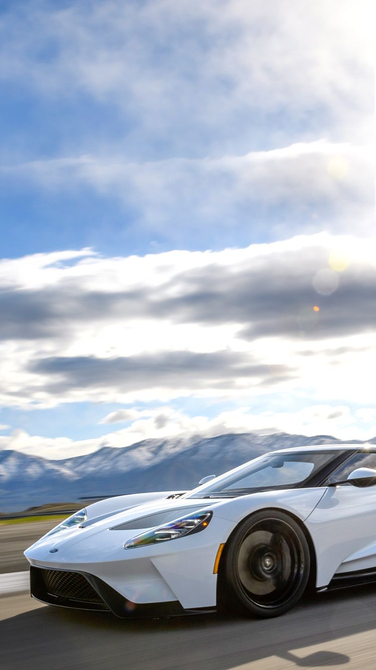 Universal Phone Wallpapers Backgrounds White Ford Gt Super Car Iphone Htc Samsung Sony Lg Ford Gt Car Car Dealership