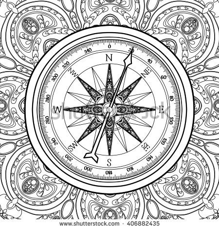 Graphic Wind Rose Compass Drawn In Line Art Style Nautical Vector