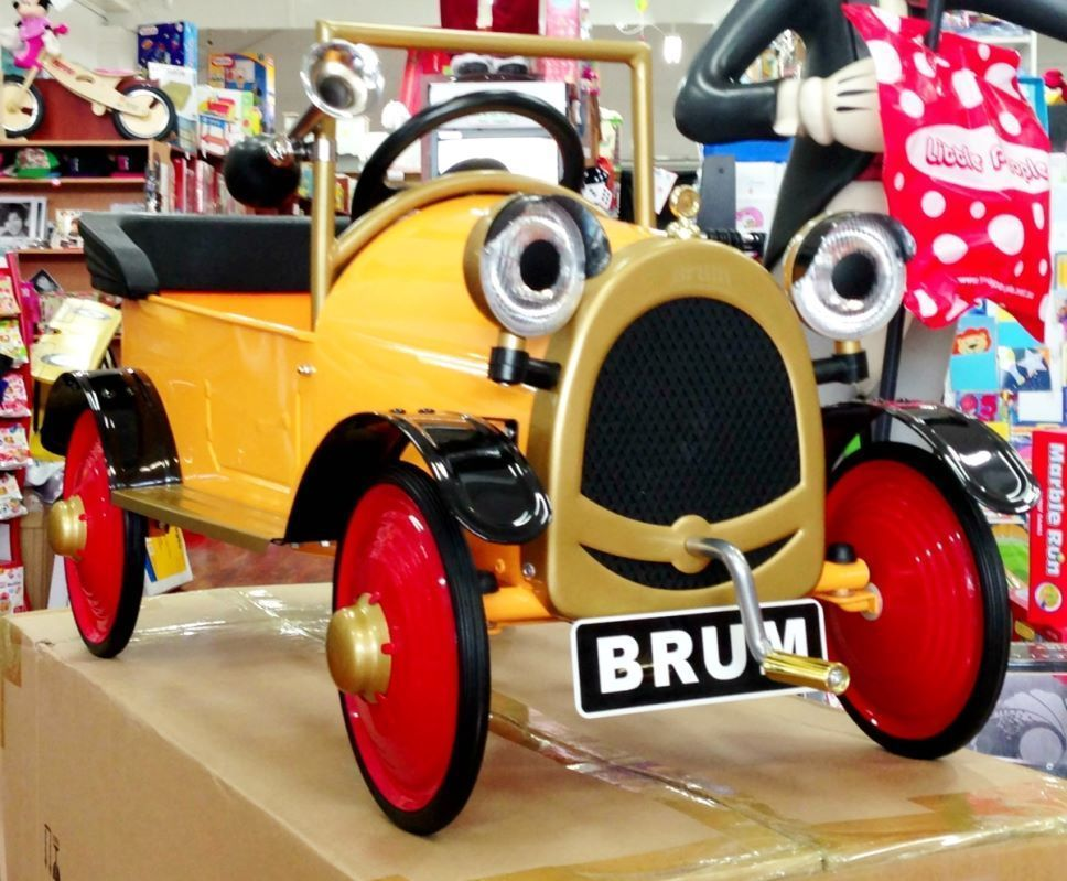brum yellow vintage ride on pedal car classic collectables kids original new