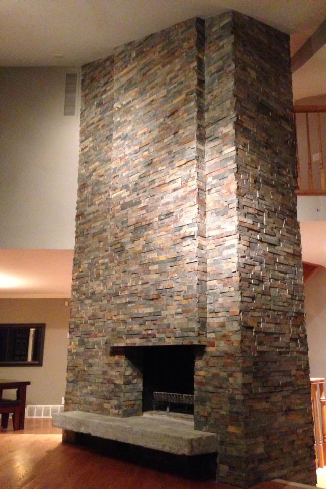 Veery Lane Two Story Wrap Around Slate Stone Fireplace