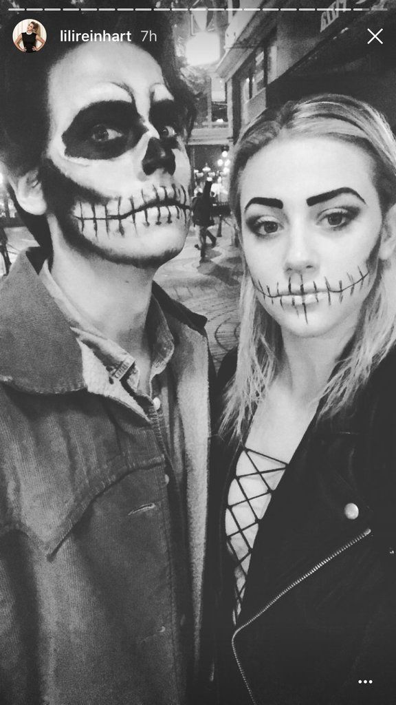 Cole Sprouse and Lili Reinhart as Skeletons