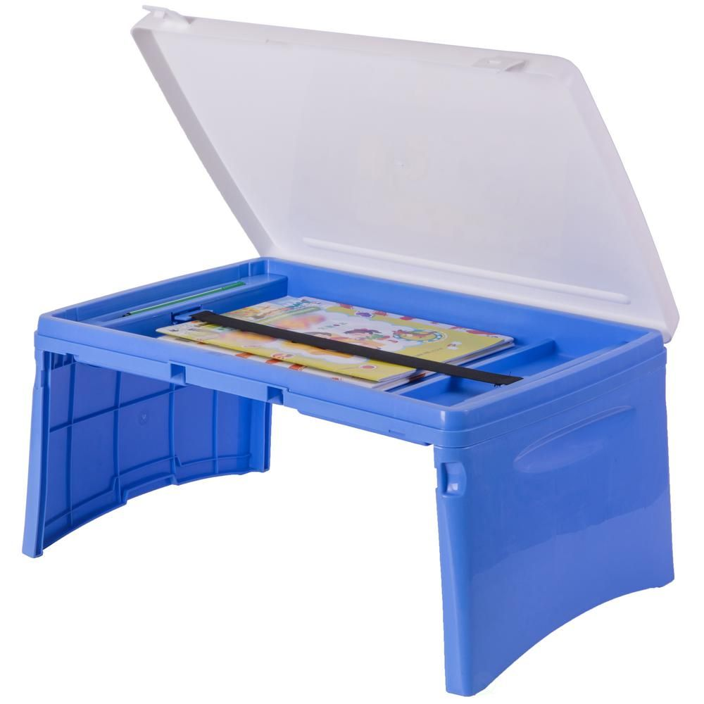 Basicwise Blue And White Kids Portable Fold Able Plastic Lap Tray Qi003430 B The Home Depot In 2020 Lap Tray Lap Desk For Kids Kids Chairs