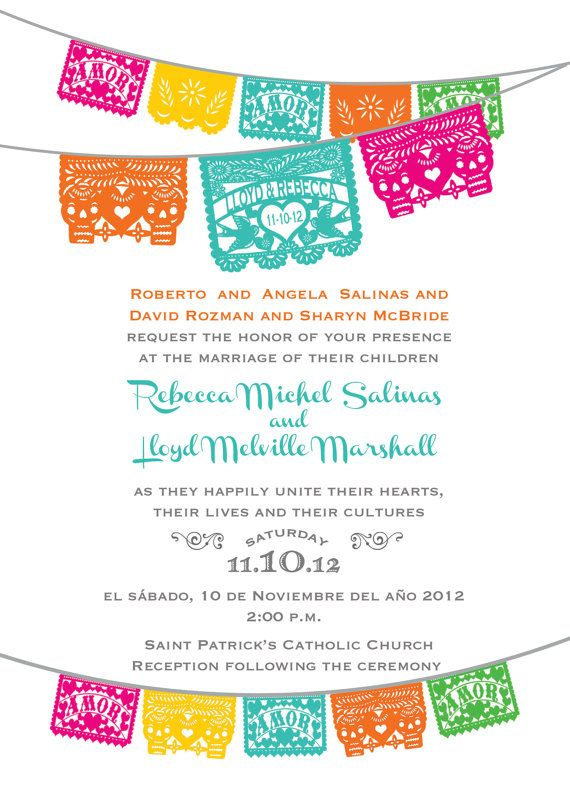 Dia de los muertos digital invitation combined with a love bird design and festive fiesta colors that can be used for a wedding, engagement, rehearsal dinner or bridal shower invitations or save the dates. Custom wedding design!