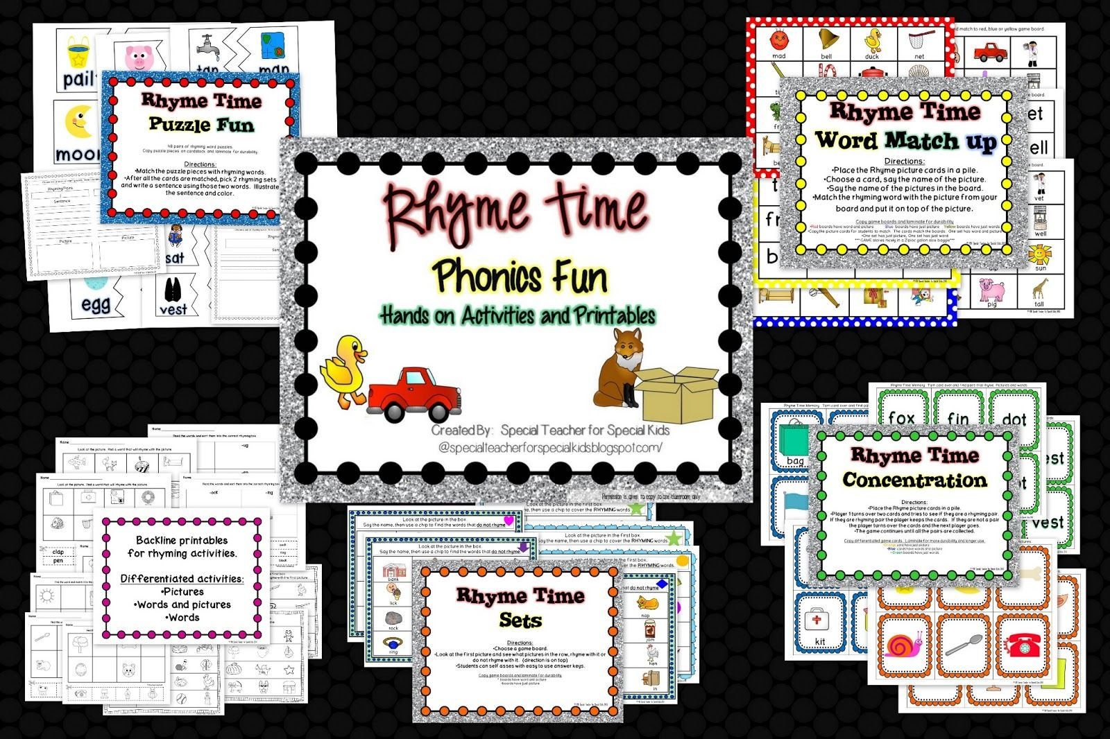 Rhyme Time Is So Much Fun Differentiated Activities And Printables