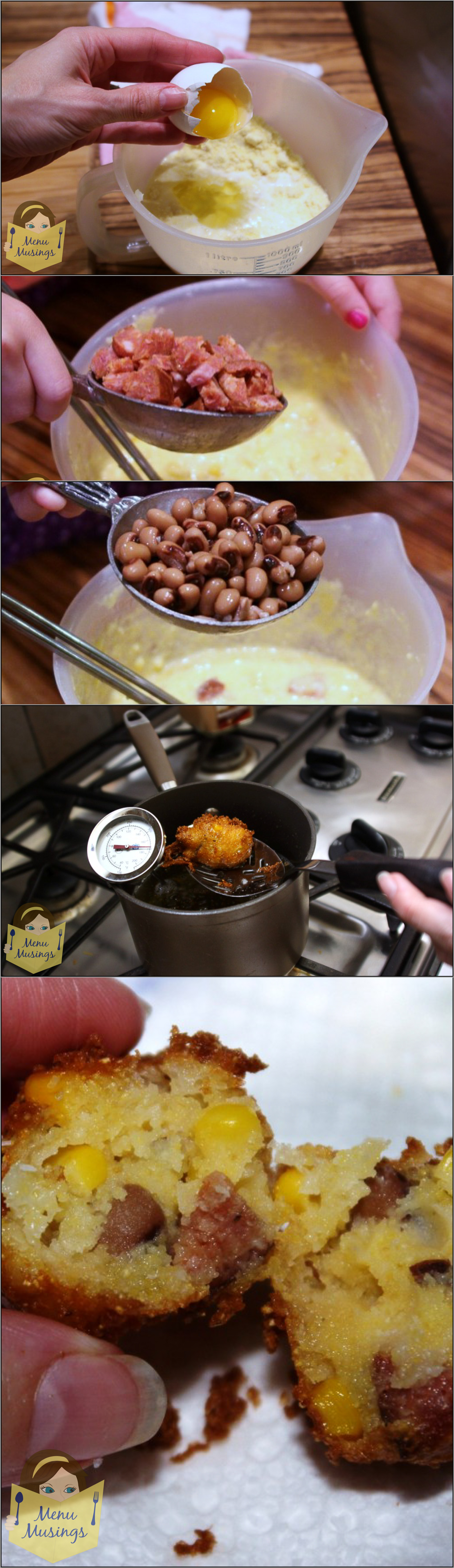 """Hoppin' John Fritters - forget about those """"plain"""" hush puppies! These have some of our favorite Southern goodies tucked inside! Step-by-step photos! <3"""
