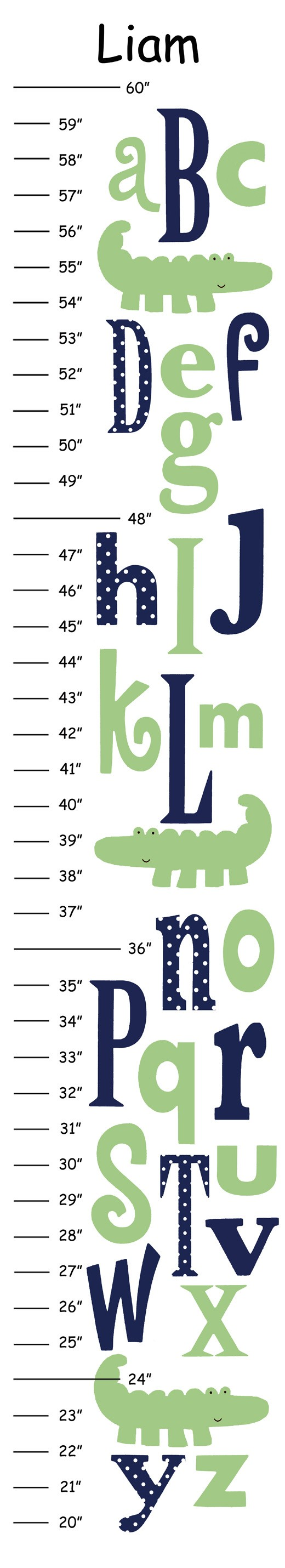 Personalized nantucket green abc alligator canvas growth chart alligator canvas growth chart etsy this way you can mark your childs growth and nvjuhfo Gallery