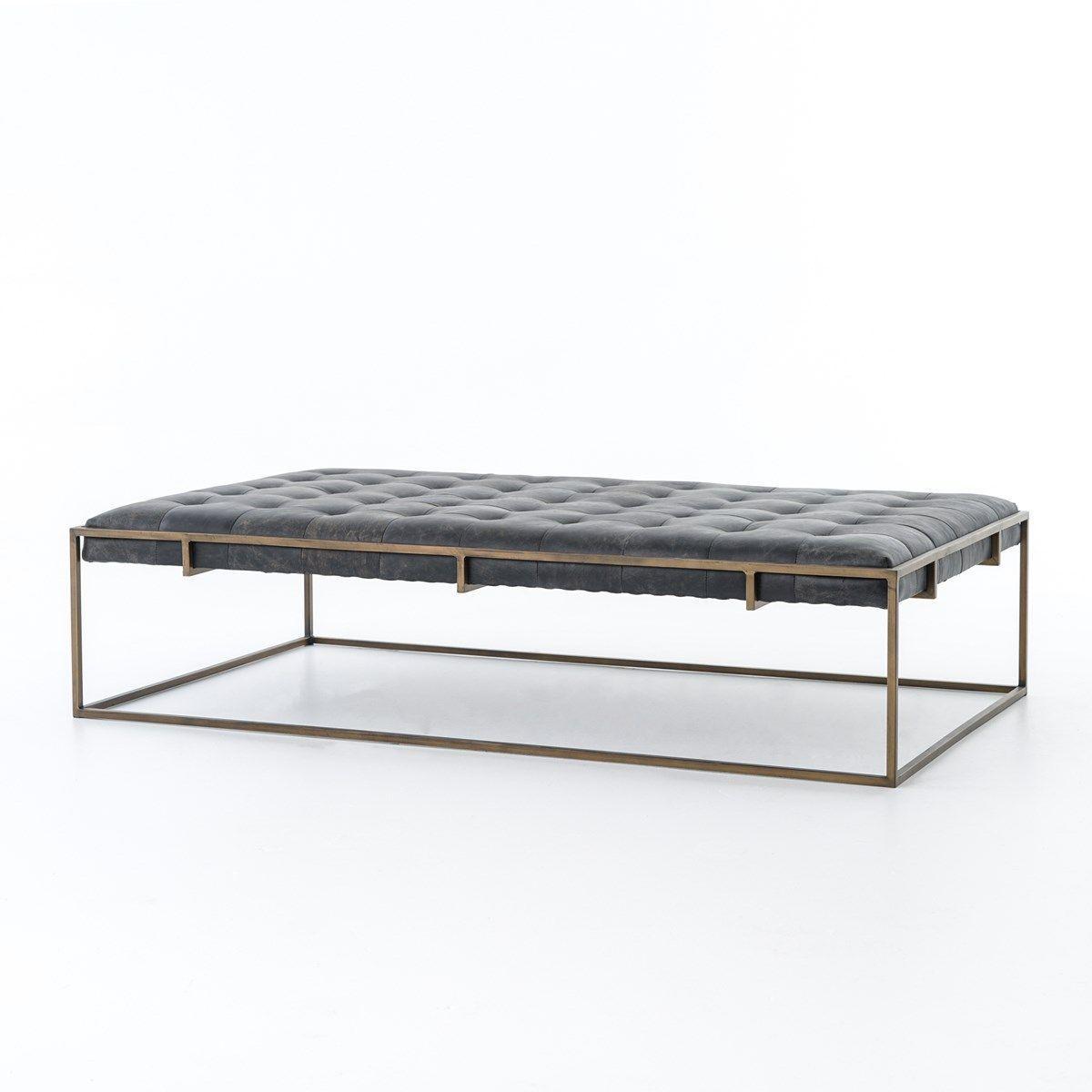 White leather ottoman coffee table - Traditional Library Furniture Style Meets Modern Sensibilities In Our Oxford Tufted Black Leather Ottoman Coffee Table