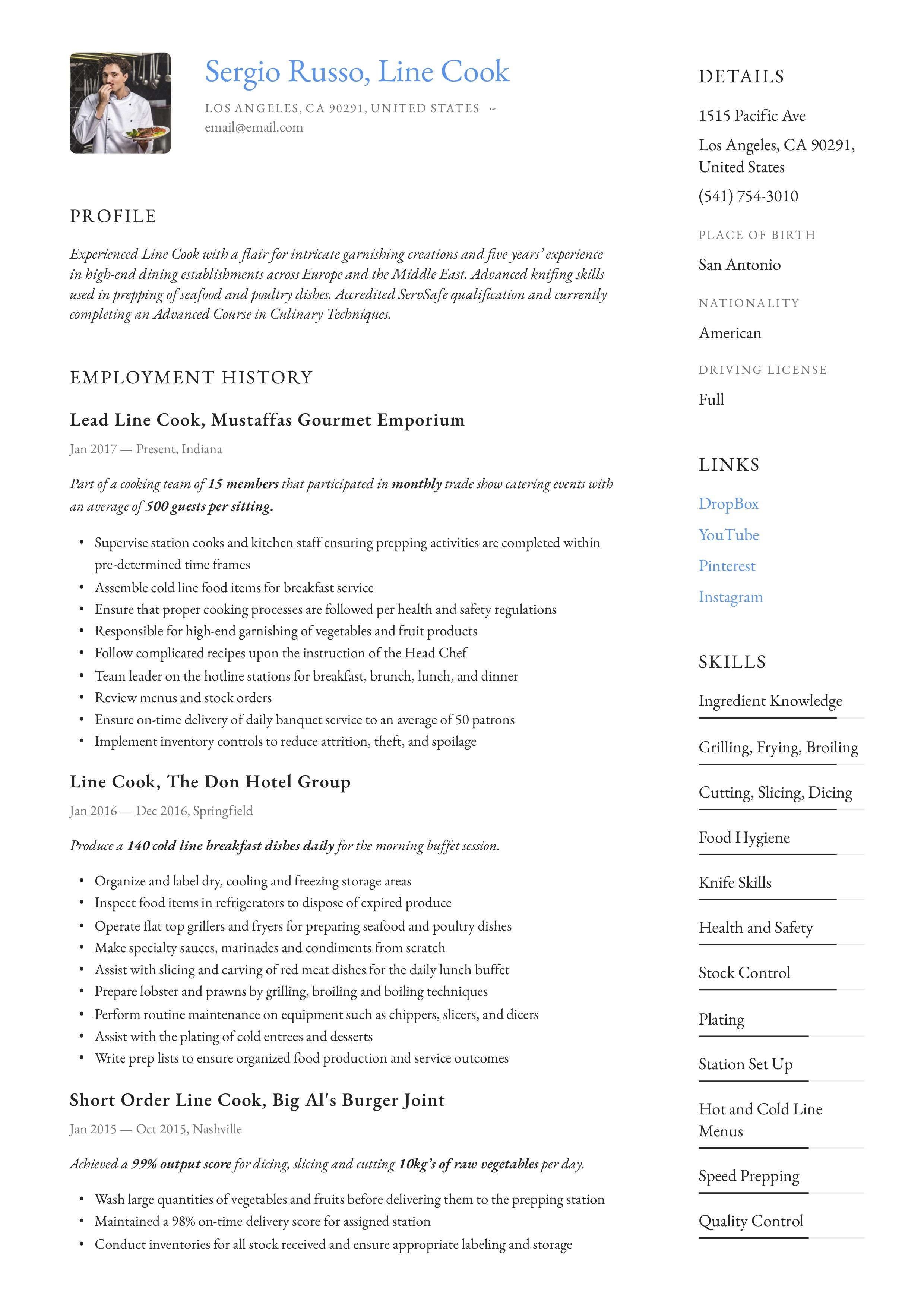 Line Cook Resume & Writing Guide in 2020 Guided writing