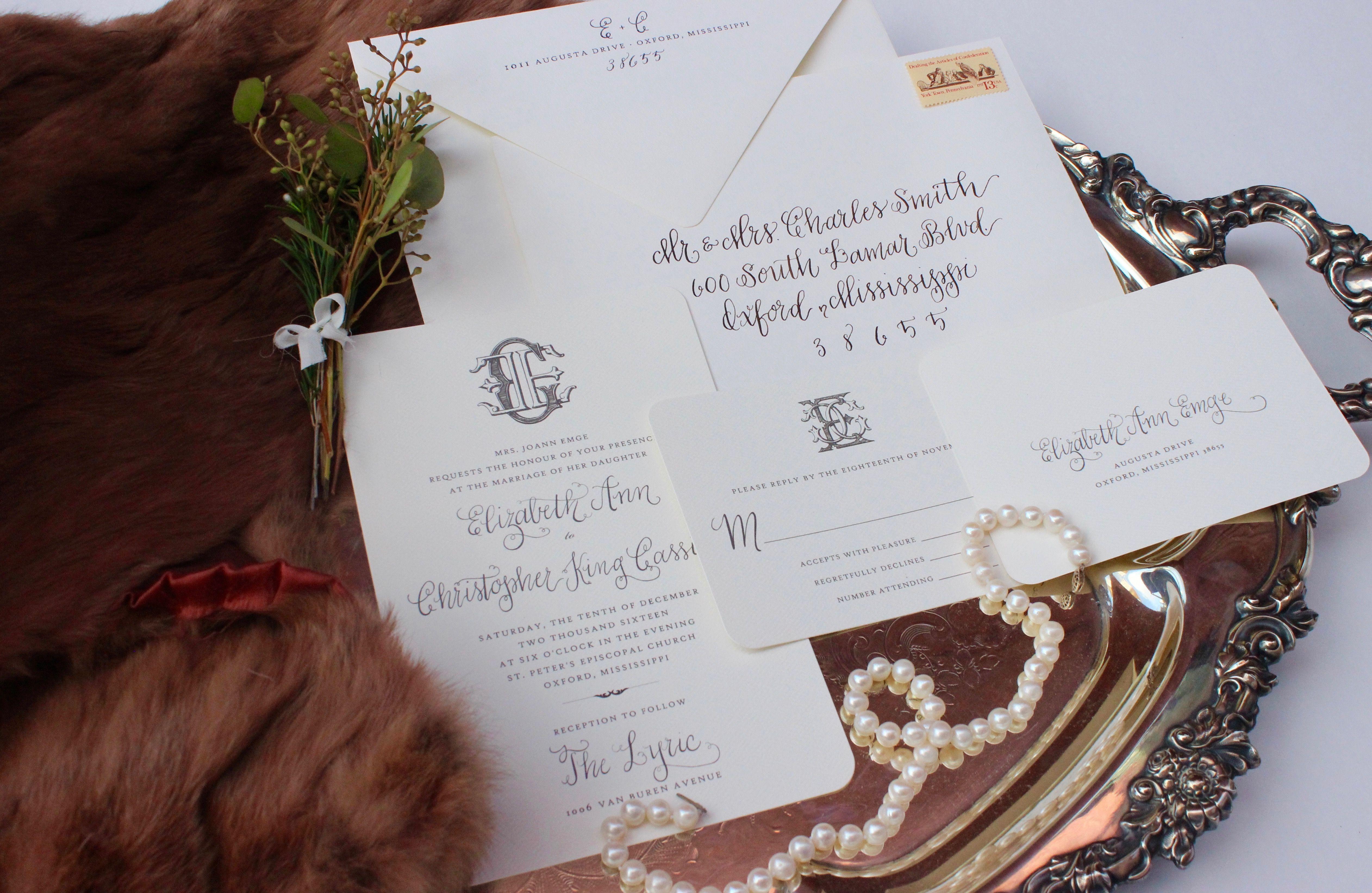 Beth Hunt Calligraphy Custom Wedding Invitation Suite
