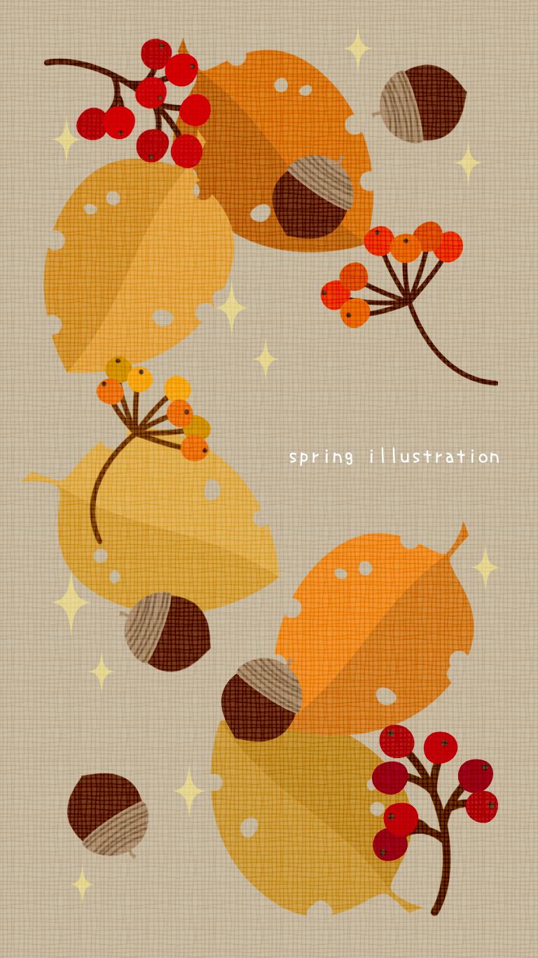 Autumn イラスト壁紙 スマホ待受け Illustration Wallpaper 秋 デザイン イラスト 秋 デザイン ポスター 秋 壁紙