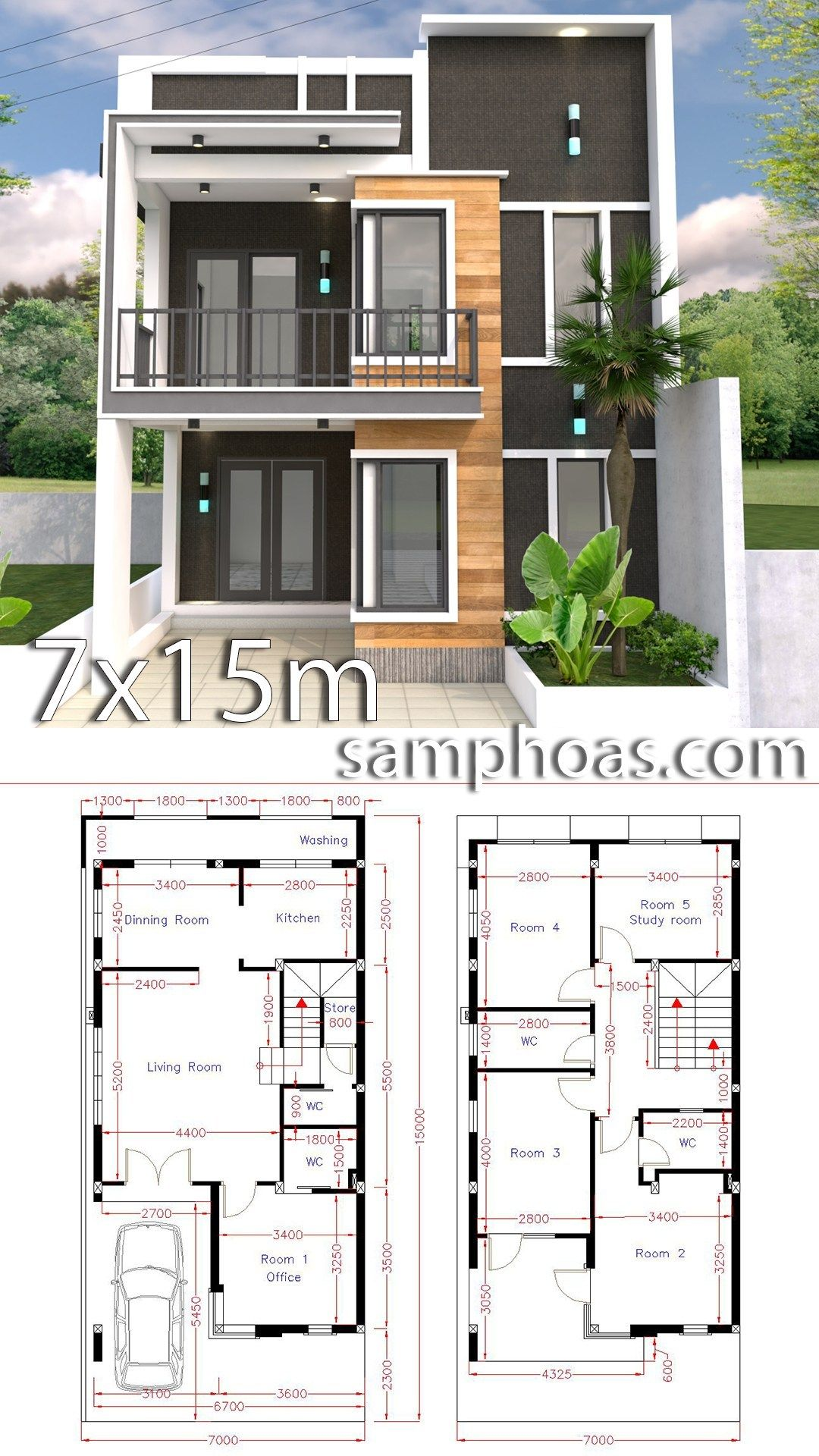 Home Design Plan 7x15m With 5 Bedrooms Samphoas Plansearch Duplex House Design Duplex House Plans Model House Plan