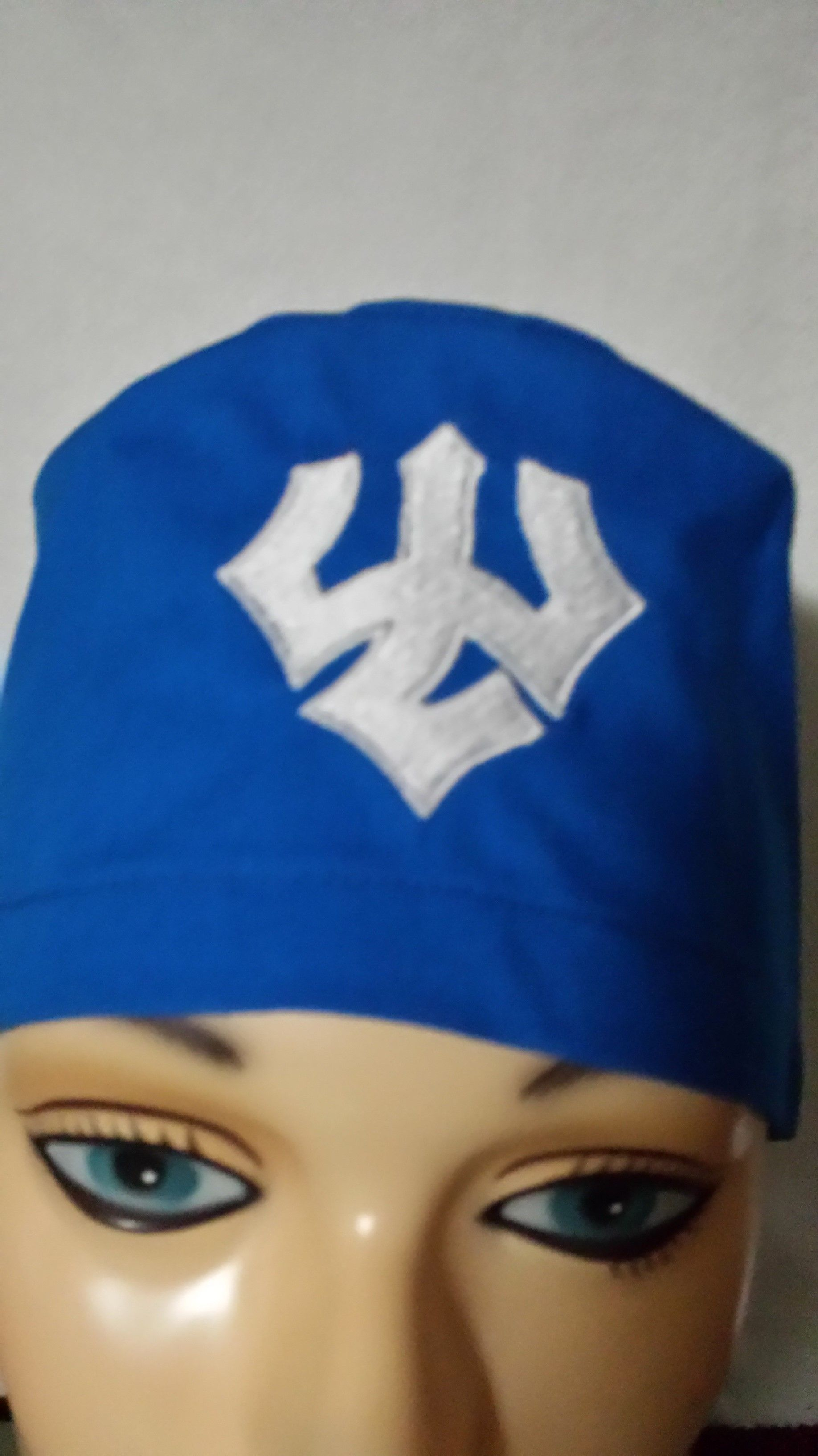 Washington and Lee logo embroidered on a male scrub cap