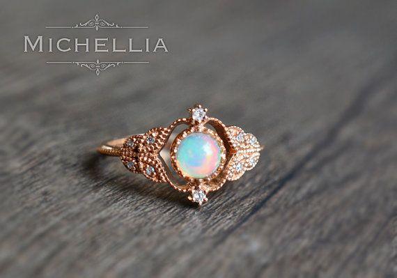 Vintage Rose Opal Ring In 14k Or 18k Solid Gold Natural Fire Opal