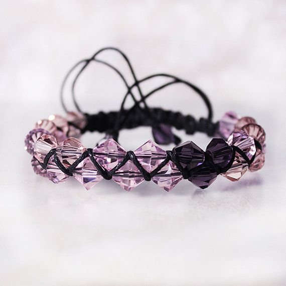 Shamballa Women's Wrap bracelet Evening crystal Accessories  pale Pink deep Purple Double bracelet Layered jewelry Gift for her Wrist cuff