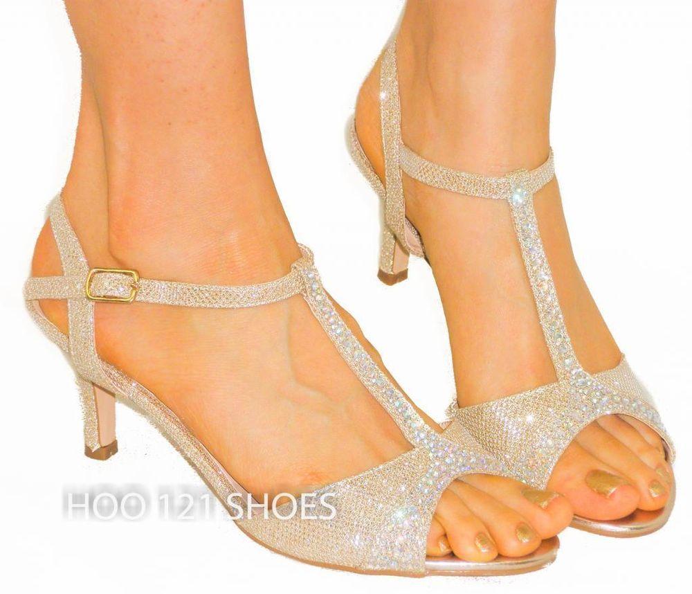 02584244ab96 Sexy Strappy T-Strap Sandals  Rhinestone  Comfy Medium Low Heel CHAMPAGNE   Blossom  Strappy 20.00