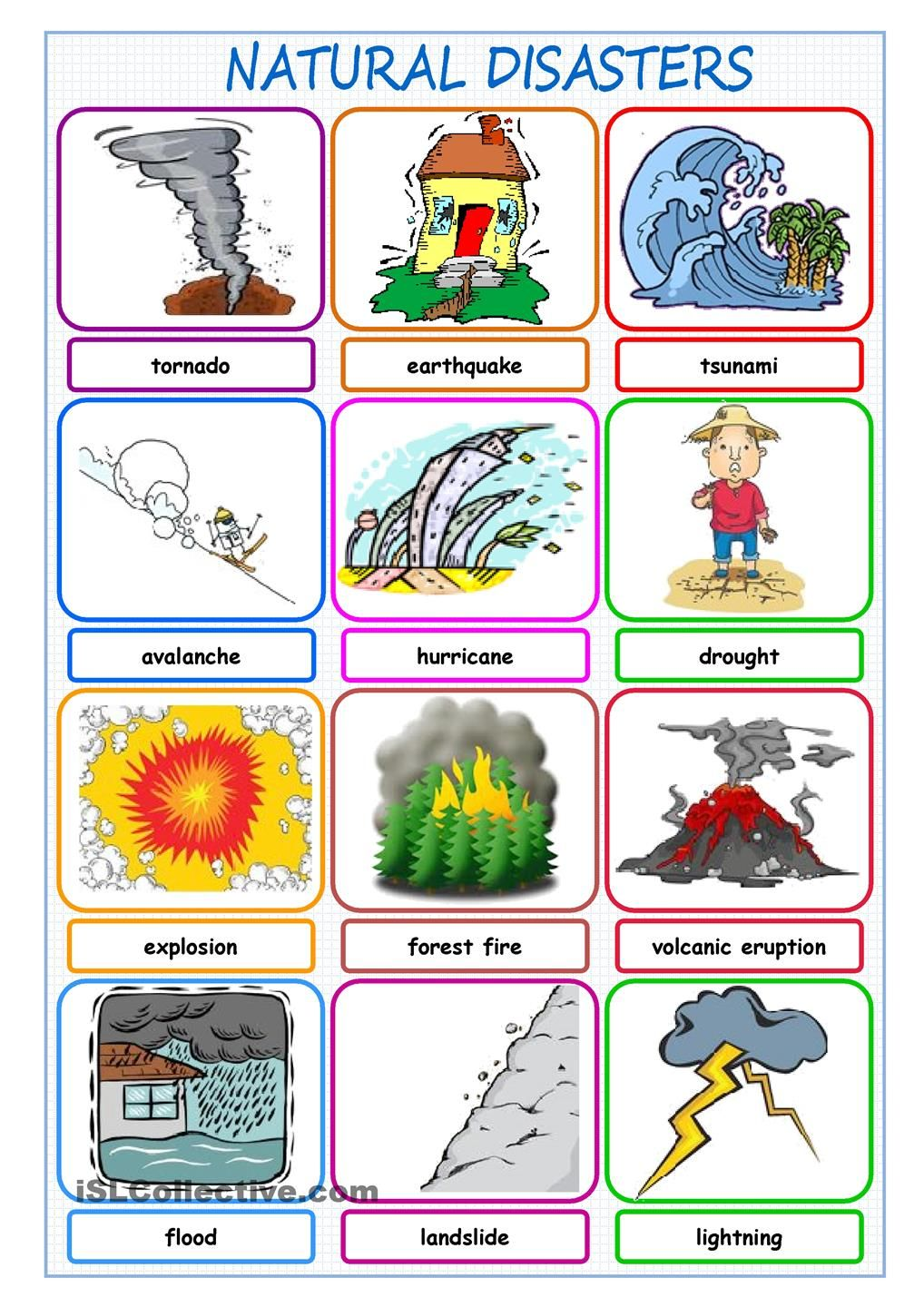 Natural Disasters Picture Dictionary Natural Disasters Natural Disasters For Kids Natural Disasters Activities