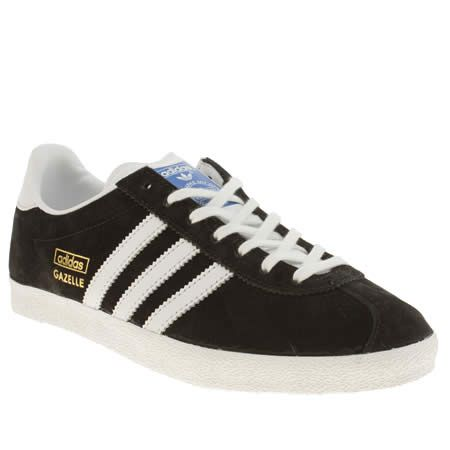 Womens Black White Adidas Gazelle Suede Trainers