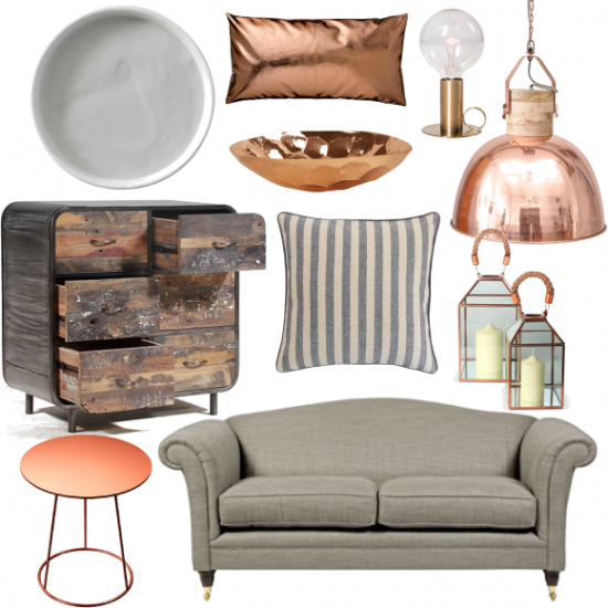 grey and copper living room moodboards