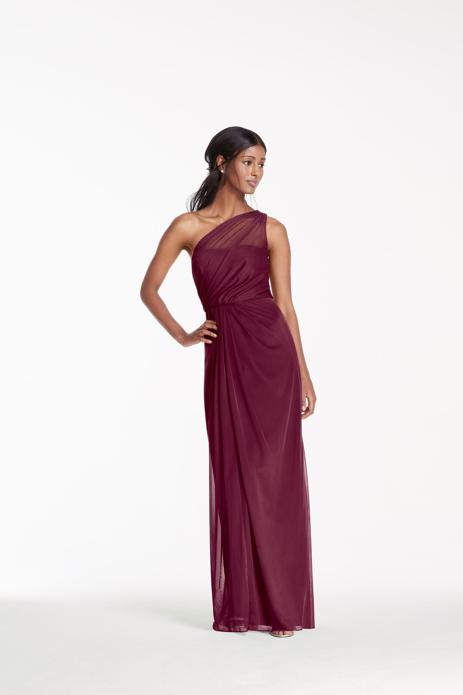 49f2045ddb2fd Long Wine Mesh One Shoulder Illusion Neckline Bridesmaid Dress by David s  Bridal