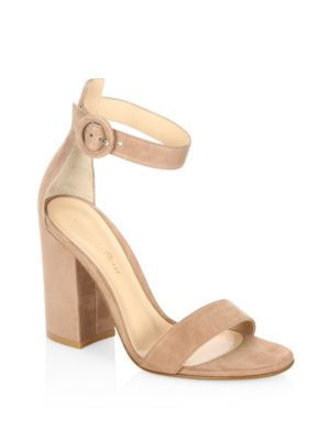 GIANVITO ROSSI Portofino Suede Block Heel Sandals. #gianvitorossi #shoes #sandals