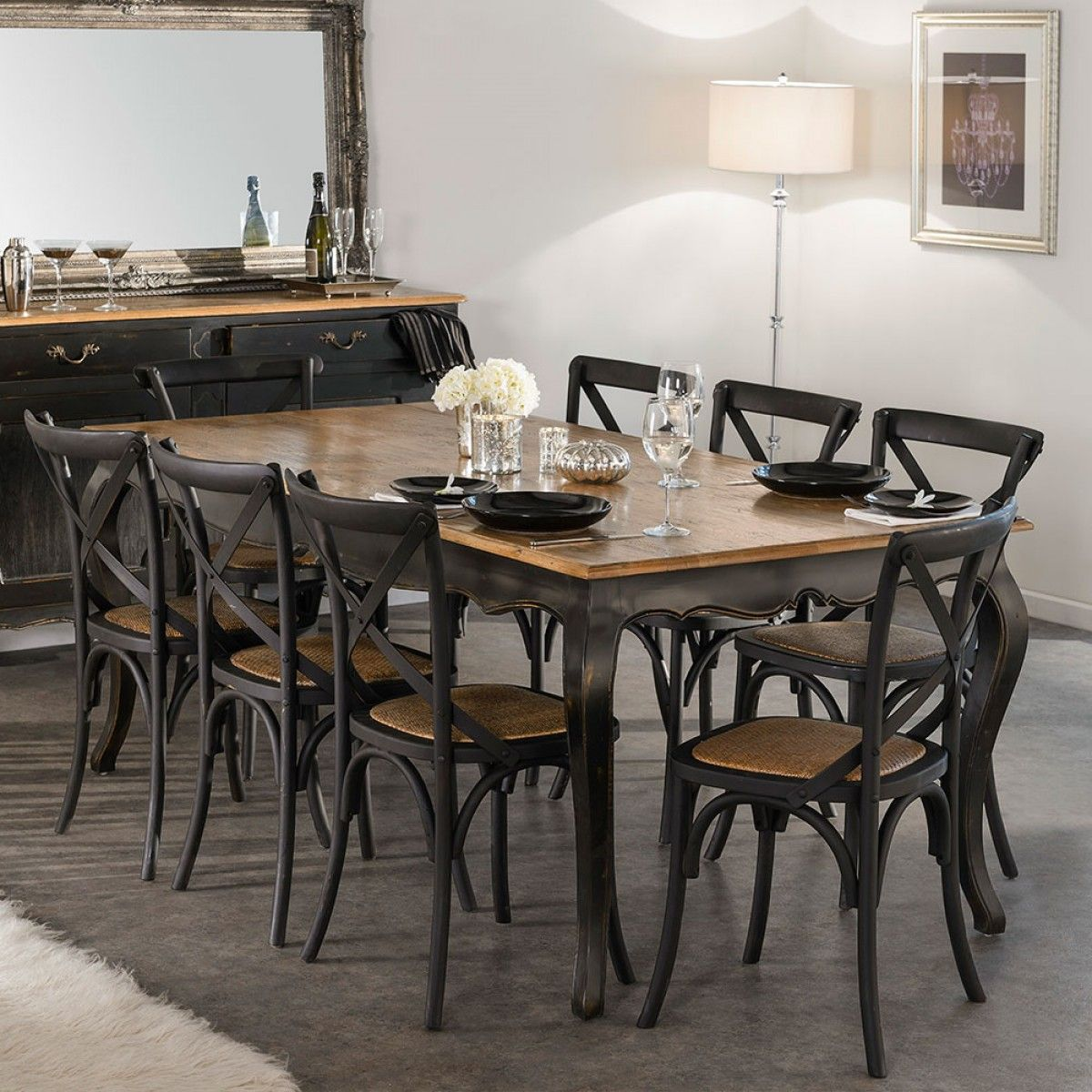 Black Wood Chair With Solid Wood Legs With Fabric Upholstered Seat