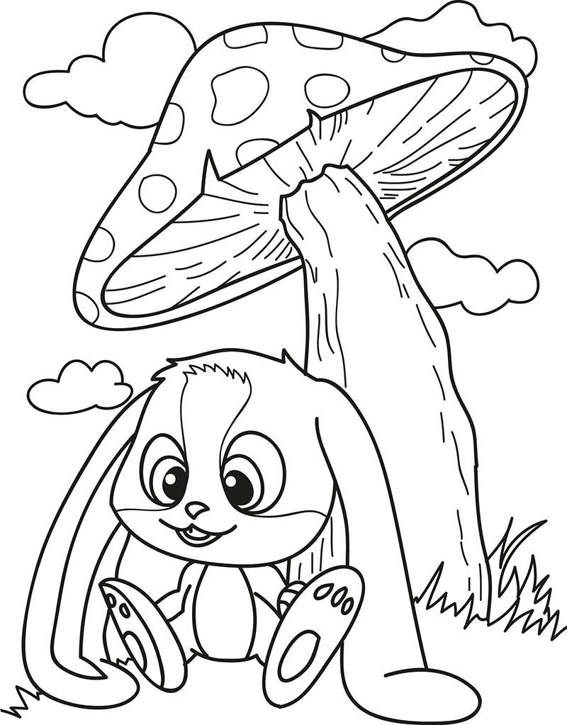 Download or Print the Free Bunny Mushroom Coloring Page and find ...