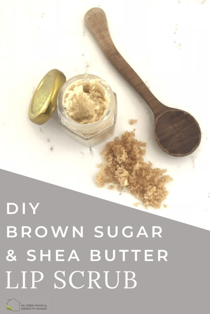 DIY Brown Sugar Shea Butter Lip Scrub - 3 ingredient scrub to help your dry lips all winter long | MeredithAmand.com #lipscrubs